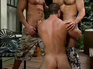Muscle Poolside Threesome