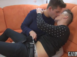 Feel of his foreskin is very sensitive while he sucks cock