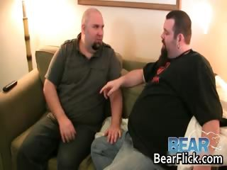 Two fat gay bears suck off some steam part