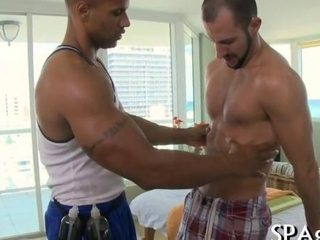 Oiled up buff enjoys an Exquisite anal drilling