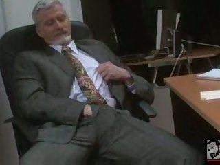 Sexy Bisexual Grandpa Beating his meat at the Office      ;work     ;