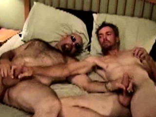Hairy mature bears suck and tug dick
