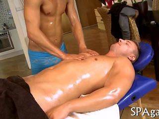 Oiled up stud massaged and fucked by his masseur