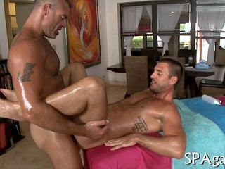 Hairy masseur savagely fucks his straight client wearing a cock ring