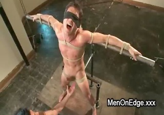 homo in bondage poses balls slapped