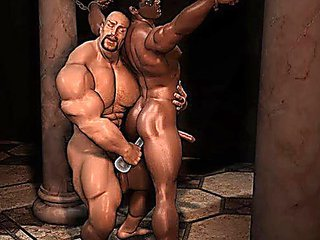 Muscled 3D gay guys admit Big Cocks!