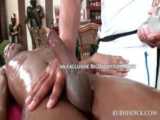 Handsome gay afro getting handjob