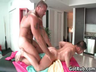 Lucky guy gets ass oiled and fucked...