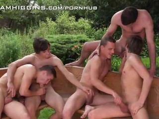 good wishes bros arse stab bareback at WilliamHiggins hand serve Party