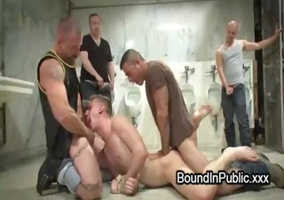 muscle gay in a sling gangbang drilled