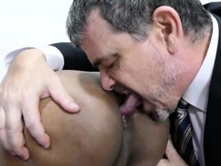 Daddy and asian twink Freddy have sex in conference room