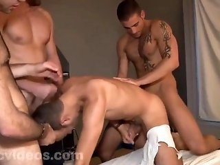 Young Slut Fucked By 3 Thugs (bareback)