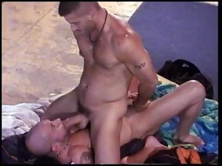 Tony Buff squeezing and punching a muscle studs balls and getting a blow job.