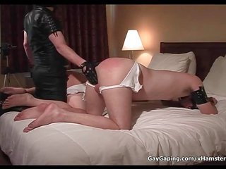 Dirty perky slaves in leather masks gains butts spanked too dildo