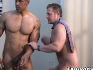 Interracial Muscled Office