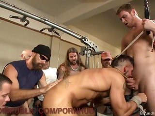 hirsute Muscled Hunk acquires group-fucked At The Gym