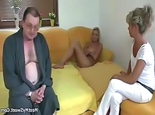 Blonde Old And Young Threesome