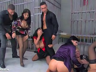 Gorgeous mommas having hot group sex at the prison