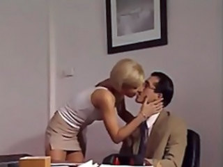 Blonde Kissing Office
