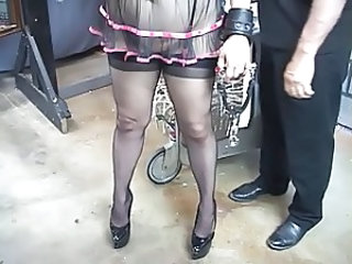 Perky tit blonde in garter gets her ass whipped until it turns bright red