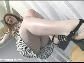 Long Hair Blonde Bbw In Short Dress Striptease