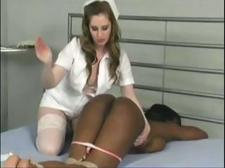 Black girl gets tied up, facesitted and tortured by her nurse