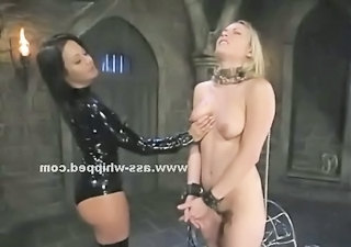 Submissive Teen Gets Her Ass And Pussy Flogged By A Dominating Blonde...