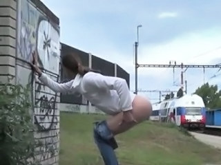 Sweet bald pussies taking long pees outdoor