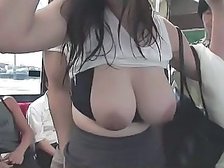 Busty woman wet with rain groped in bus