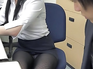 Pantyhose Miniskirt Secretary at Office 1of4 censored ctoan