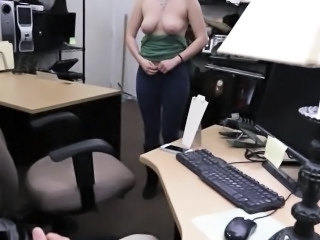 Pawnshop amateur gets tits and ass out for cash