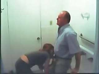 Young Assistant Blows Her Boss in Work Toilet