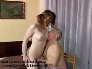 Horny gramps gets lucky with a young hottie bimbo with small tits