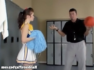 Brunette amateur teen cheerleader fucked by her coach in the lockerroom