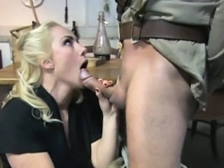 Blonde housewife gets fucked by a soldier