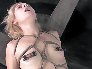 Cute blonde all tied up teased and squirting orgasm