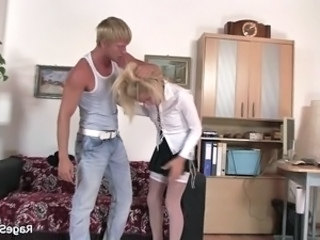 He fucks his gf rough in the office