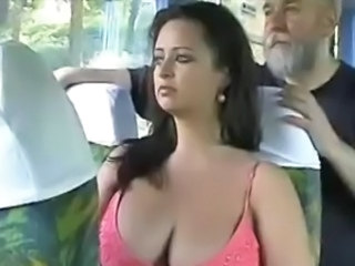 Big Tits Brunette Bus