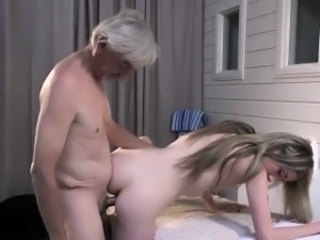 Kinky skinny girl gives grandpa full erotic massage