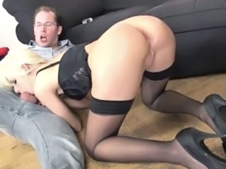 Babe Blonde Blowjob Deepthroat European German Stockings
