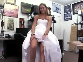 Hot Blonde bride rides a cock