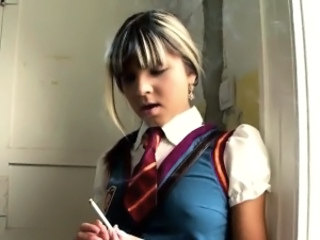 Smoking Blonde Student