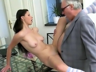 Lusty honey is giving mature teacher a lusty blowjob session