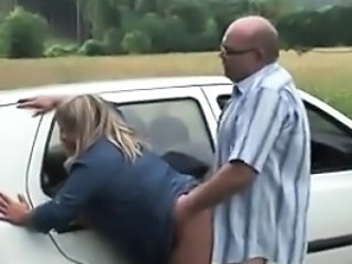 Sucking And Fucking Outdoors At The Car