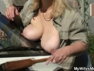 Wife catches then fucking outdoor