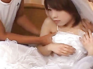 Morimoto Miku is undressed of bride outfit and fucked i...
