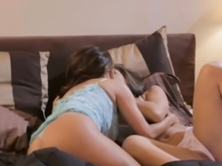 Abella gently caresses her mothers inner thighs