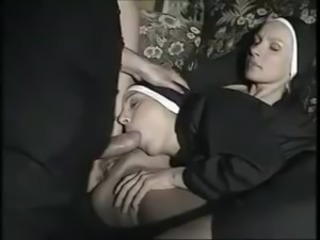 Nun Babe Big Cock Blowjob Clothed European German Threesome Uniform Vintage