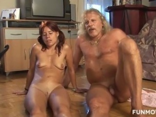 Grey haired kinky freak is gonna fuck spoiled red haired GF