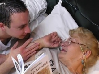 Old Granny fucks young boy like crazy